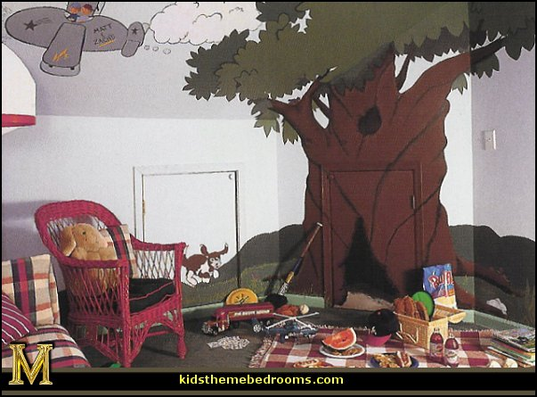treehouse theme bedrooms - backyard themed kids rooms - cat decor - dog decor - bugs and critters theme bedrooms - camping theme bedrooms - Happy Camper little boys outdoor theme bedroom