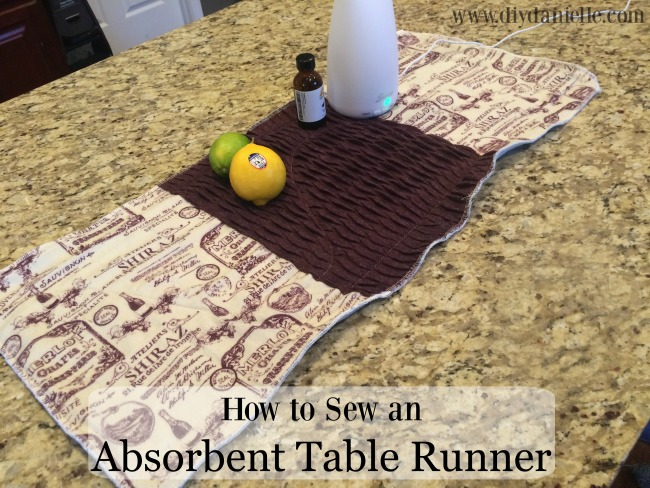 Instructions for how to make a table runner that is absorbent.