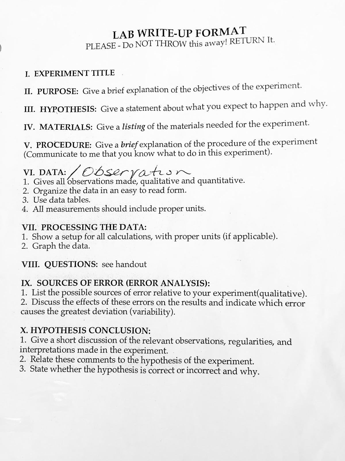 Regular Bio: Lab Write-Up Format