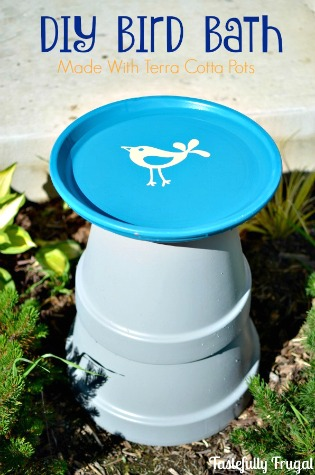 DIY Bird Bath from Terra Cotta Pots by Tastefully Frugal