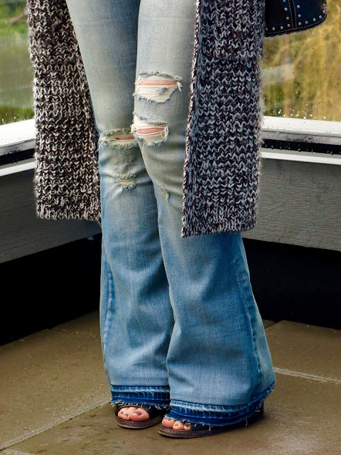 distressed flare jeans, sweater coat