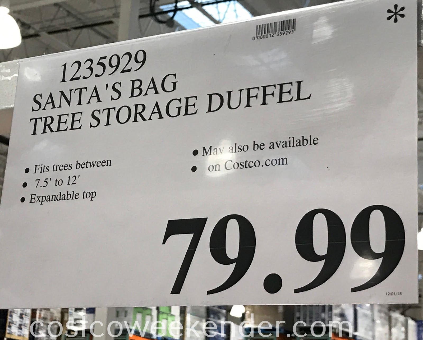 Deal for the Santa's Bag Tree Storage Duffel at Costco