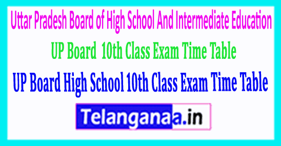 UP Board SSC Uttar Pradesh High School 10th Class Exam Time Table