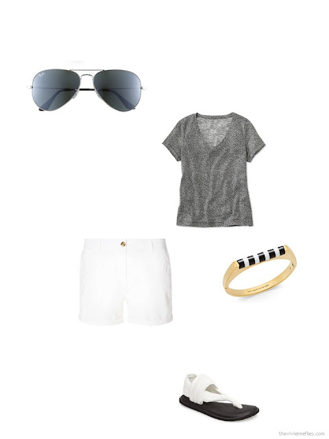 how to accessorize a black and white tee shirt and white shorts