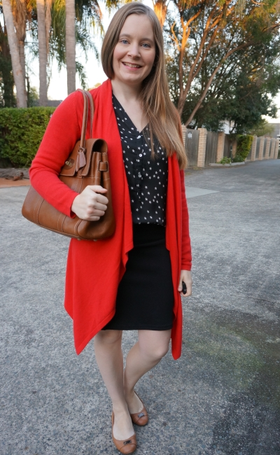 Jeanswest waterfall drape cardigan in scarlett marle with star print shirt pencil skirt Mulberry bayswater | awayfromblue