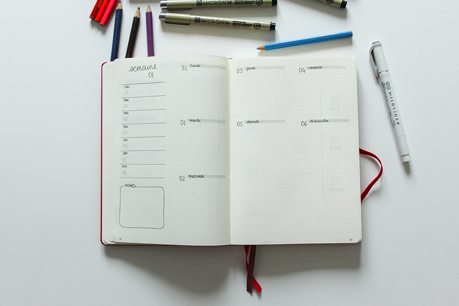 bullet journal janvier bujo weekly spread 2019