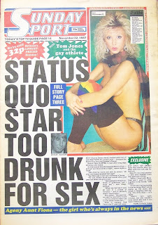 Front page of the Sunday Sport newspaper from 22nd November 1987