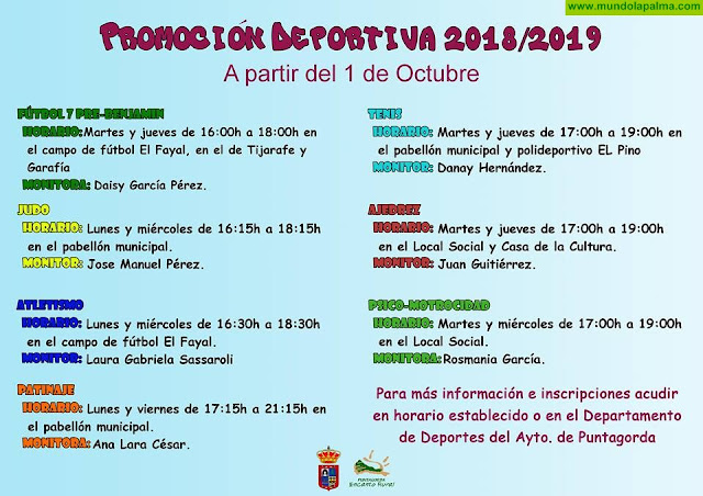 Promoción deportiva 2018/2019 a partir del 1 de Octubre en Puntagorda