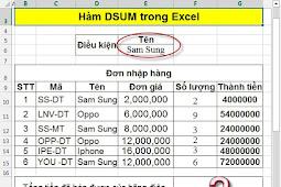Hàm DSUM – Hàm tính tổng các giá trị trong 1 trường (cột) của 1 cơ sở dữ liệu với điều kiện cho trước trong Excel