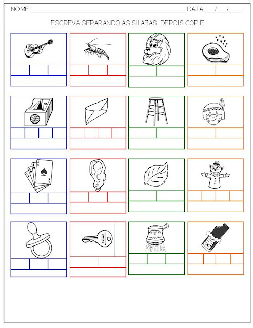 Hipótese de escrita alfabética - Alfabetização - Separe as sílabas e escreva o nome das palavras