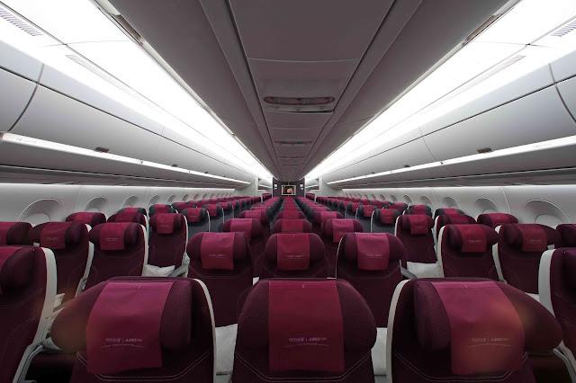 Qatar Airways A350-900 XWB Front View in Economy Class