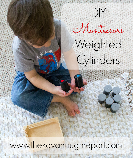 Montessori sensorial materials help to isolate senses for children. These DIY Montessori weighted cylinders encourage children to match objects based on weight. This easy DIY is perfect for homeschooling or exploring the senses at home.