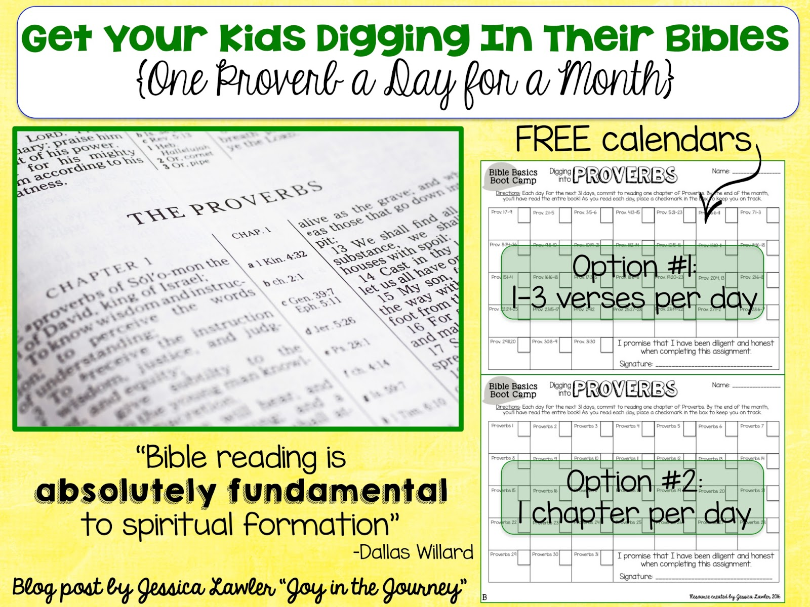 "Get your kids digging in their Bibles - FREE reading calendars to read through Proverbs in a month. Blog post includes calendar options for both younger and older kids. Resource created by Jessica Lawler, ""Joy in the Journey"""