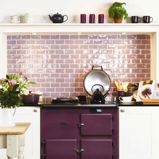 Color Forecast Pantone Spring 2014 Color Report Kitchen with Magenta Purple Oven Purple Backsplash Indoor Flowers Teapots