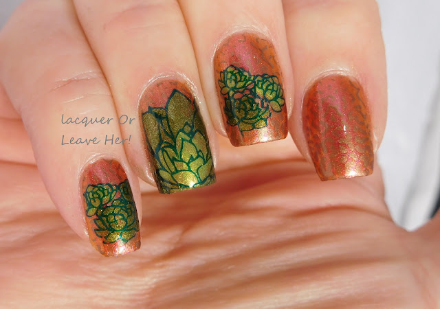 Desert Cactus Delight with Nail Hoot Summer's Demise + UberChic Beauty Succulents & 6-03