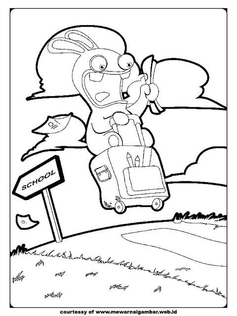 kartun gambar rabbids invasion untuk diwarnai