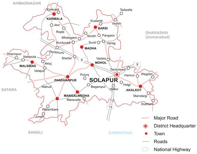 Talukas In Solapur District Solapur District Map Maharashtra - Solapur map