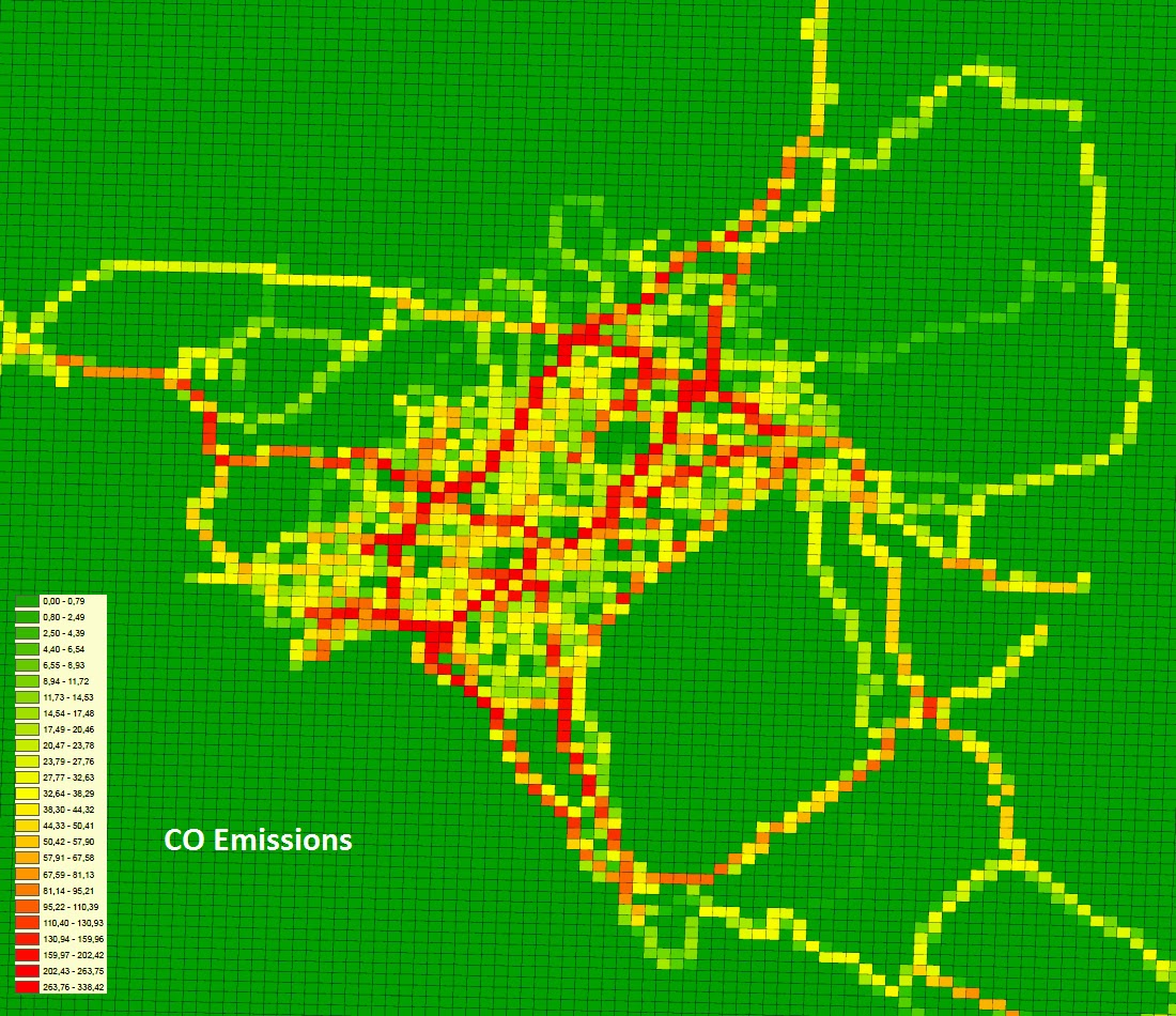 Daily CO emissions (kg) on a 100 x 100 (500 x 500 m2) grid