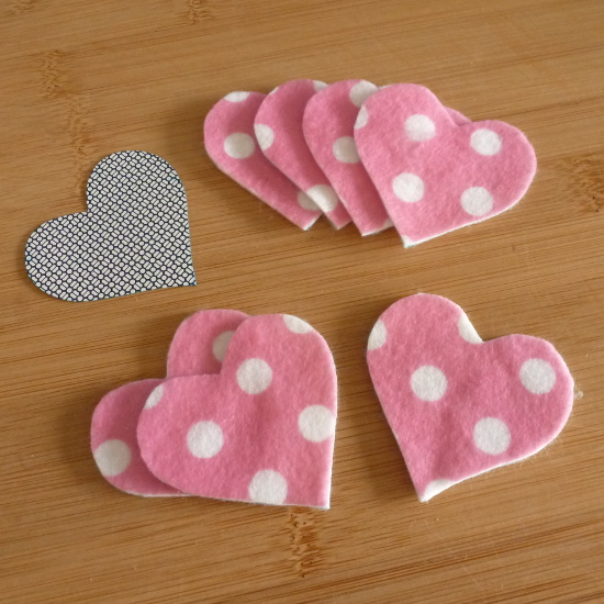 Pink polka dot felt fabric hearts for garland bunting