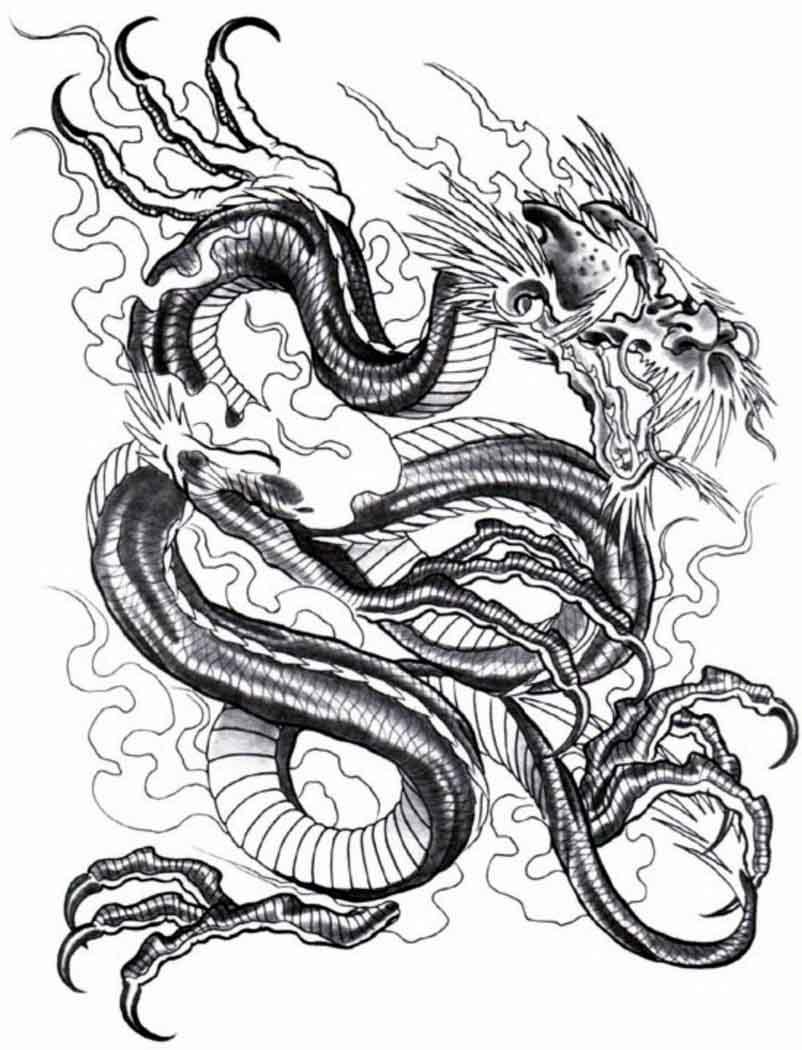 Gambar Lukisan Naga Hitam Putih Cikimm Com