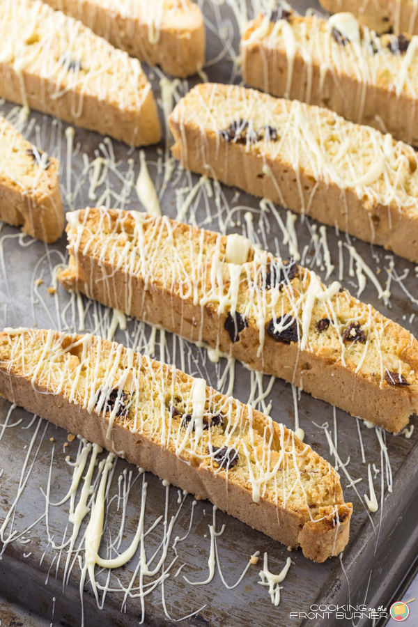 White Chocolate Cherry Almond Biscotti | Cooking on the Front Burner
