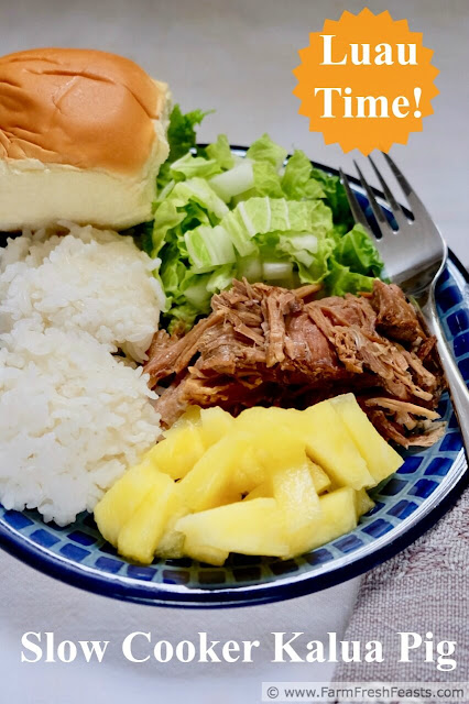 Bring the luau out of the back yard and into the slow cooker with this simple 3 ingredient recipe for slow cooked pork. This is a great meal to take to friends, and the leftovers freeze well.