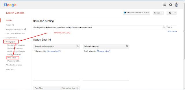 Cara Cepat Agar Situs Terindex Dengan Sumbit Sitemap ke Webmaster Tools - Maulnotes.com