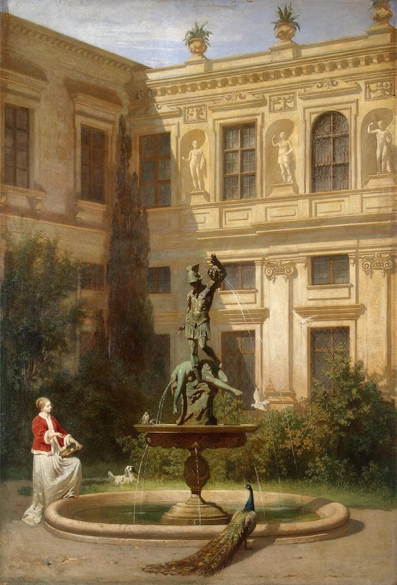 Hans von Marées - Courtyard with the Grotto in the Munich Royal Residence
