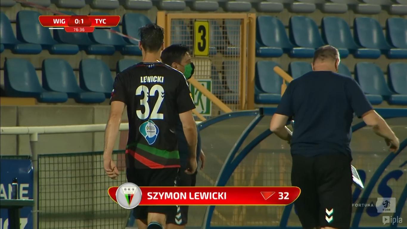 26. kolejka: Wigry Suwałki - GKS Tychy 0:1<br><br>fot. Polsat Sport / IPLA