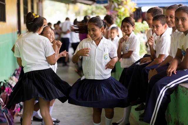 Children play at the Rio Blanquito school in Choloma, Cortes, Honduras