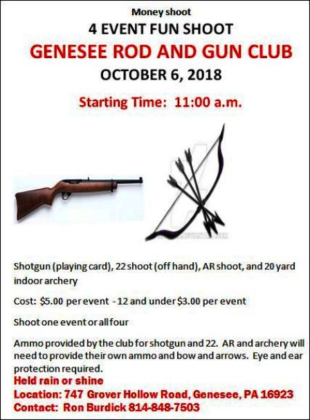10-6 Money Shoot, Genesee Rod & Gun Club