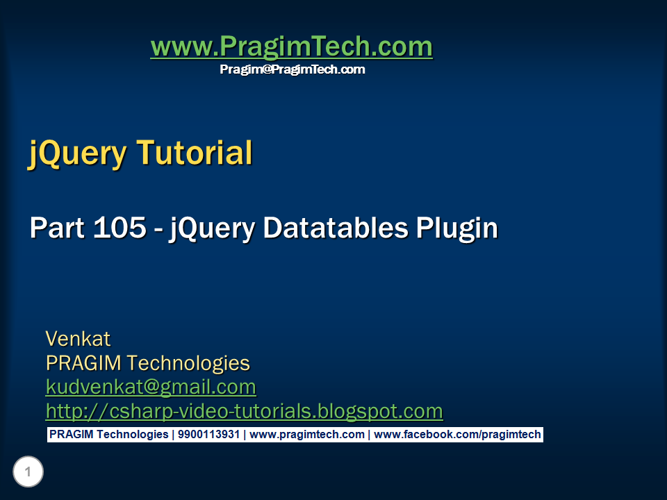 Sql server, .net and c# video tutorial: jQuery datatables ...