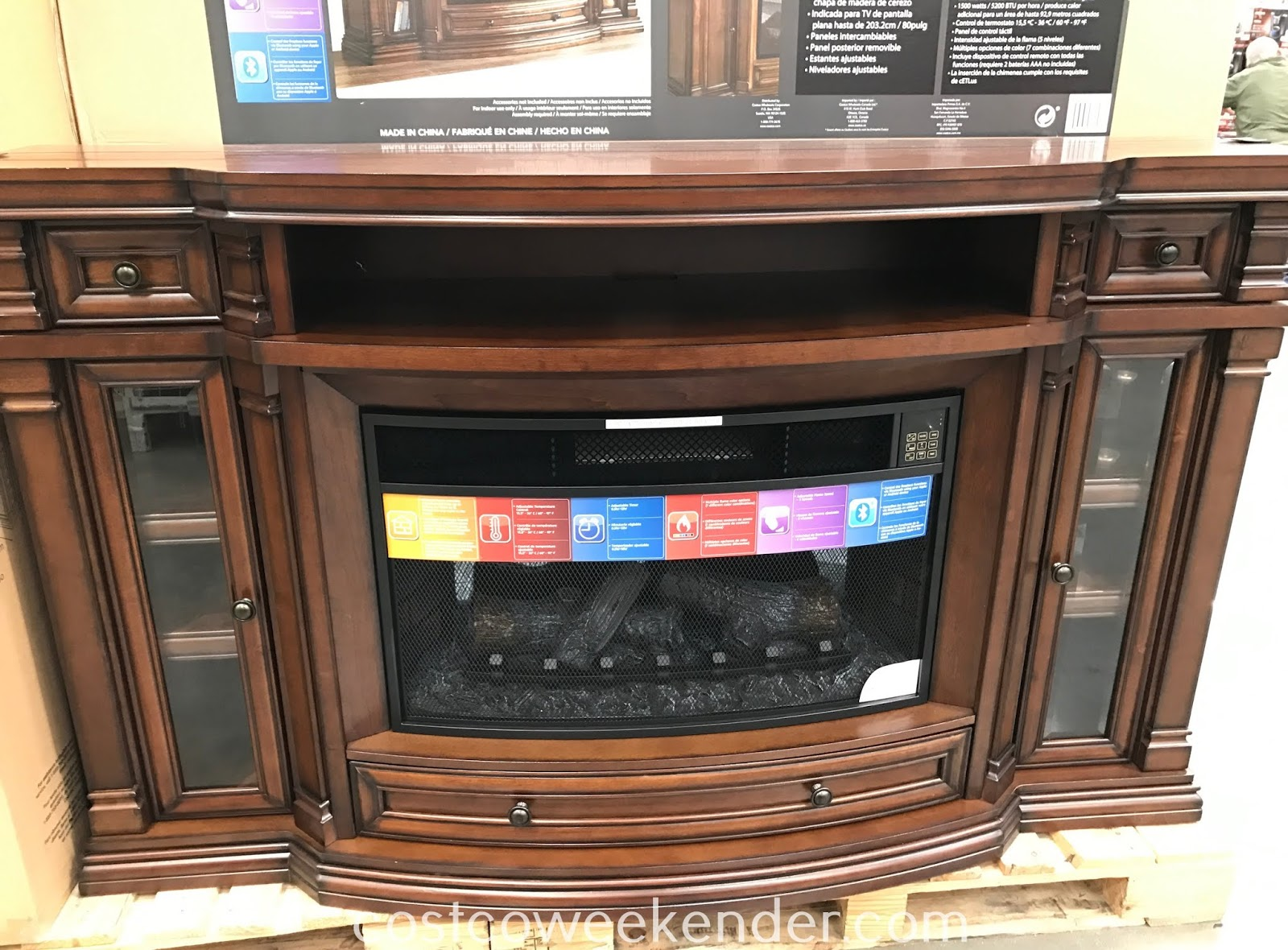 Stay warm when the temperature drops with the Well Universal Electric Fireplace and Media Console