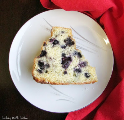 slice of blueberry bundt cake on dessert plate