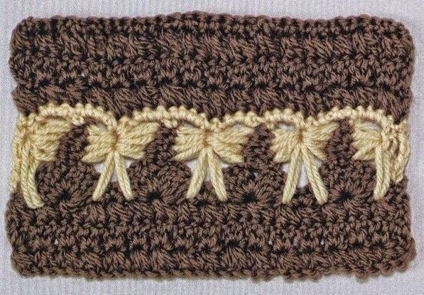 Punto al crochet que asemeja guarda de moños