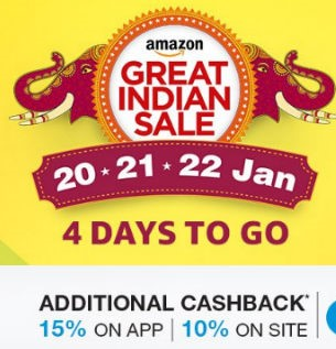 Amazon Great Indian Sale – Deals, Offers & Cashback 20th- 22nd January 2017