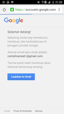 pembuatan gmail sukses