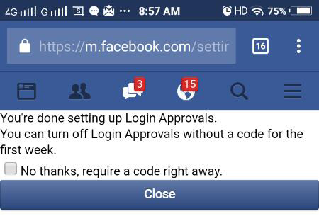 security facebook two step verify