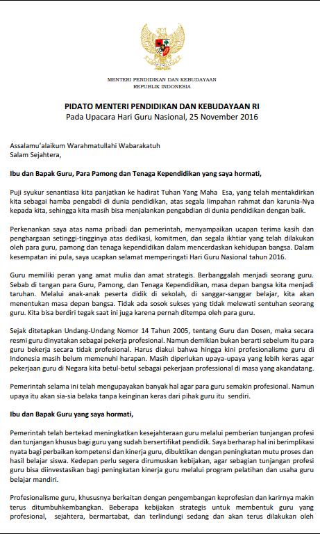 Download Sambutan Mendikbud Dalam Rangka Hari Guru Nasional 25 November 2016