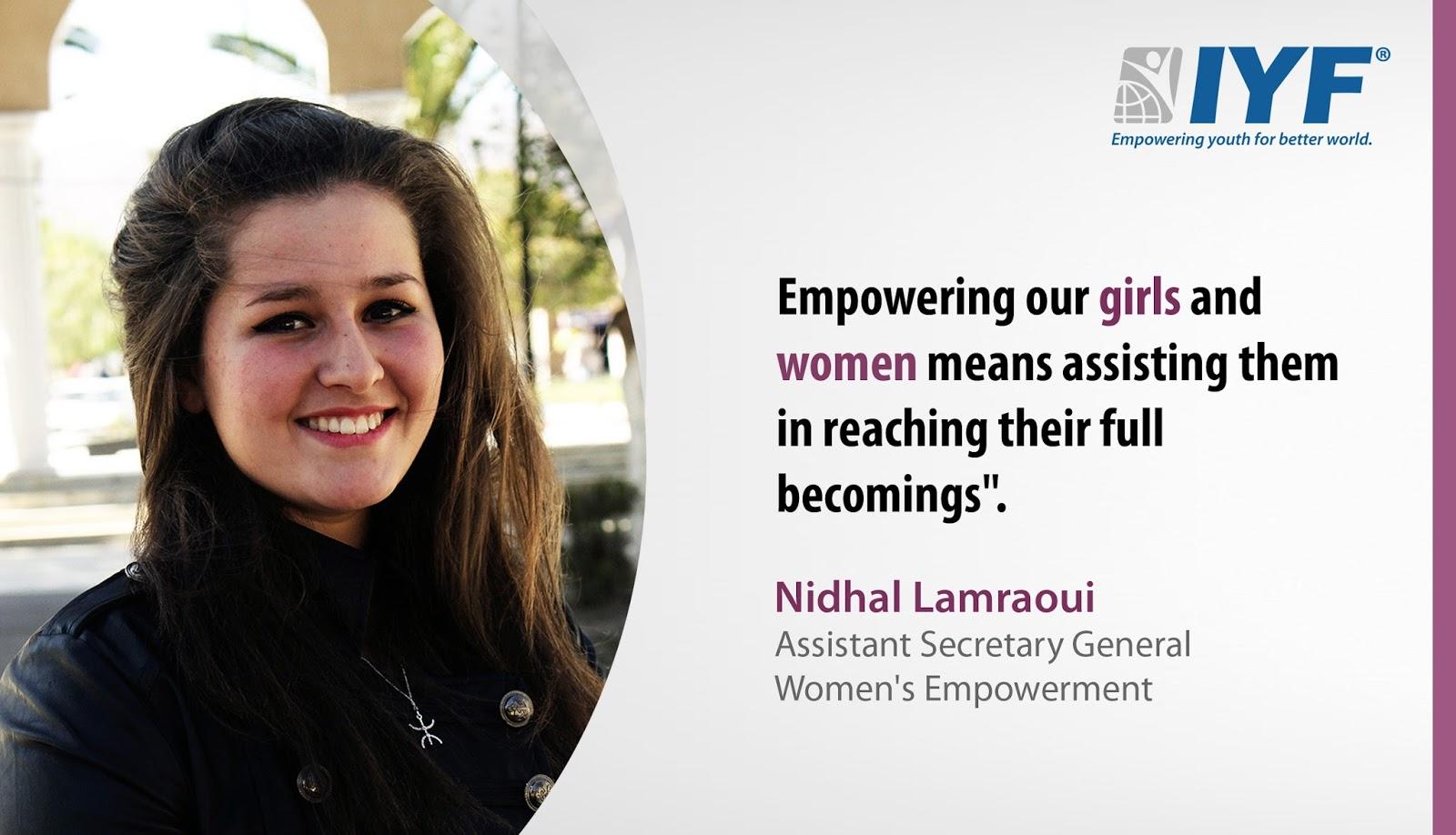 Nidhal Lamraoui, IYF Assistant Secretary General, Women's Empowerment