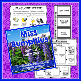 This freebie comes from Comprehension Connection and is part of a blog post about Question Answer Relationship using the book Miss Rumphius.