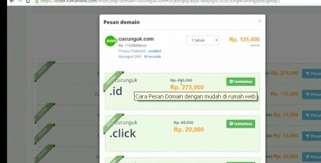 Cara Pesan Domain dengan mudah di rumah web