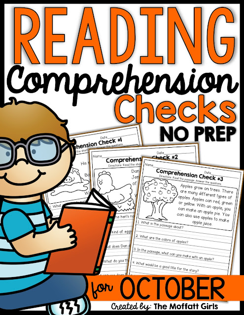 Reading Comprehension Checks for October- Build confidence in beginning and struggling readers with these short stories, while teaching students to find text evidence to support their answers.