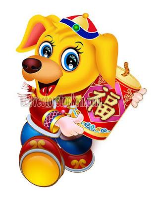 Vector Con Chó Vàng 2018. Vector in lịch tết