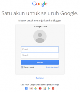 login ke akun google blogger
