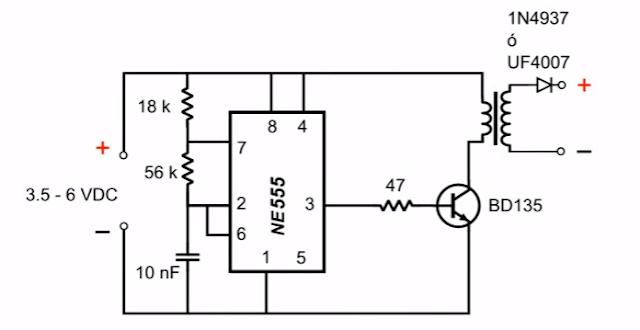 دائرة رافع الجهد 6 فولت الي 600 فولت