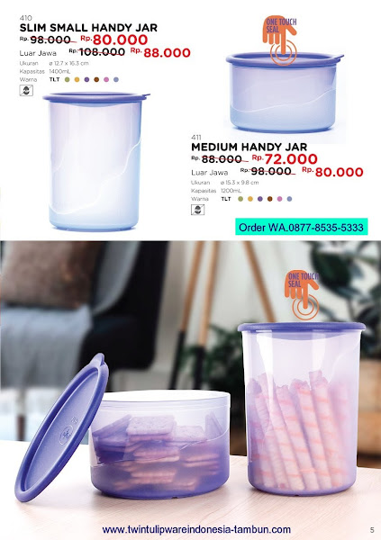 Promo Diskon Tulipware Maret 2018, Slim Small Medium Handy Jar
