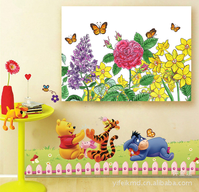painting of watercolor flowers and butterflies in interior decor
