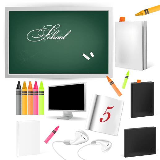 Pizarra y elementos escolares - Vector