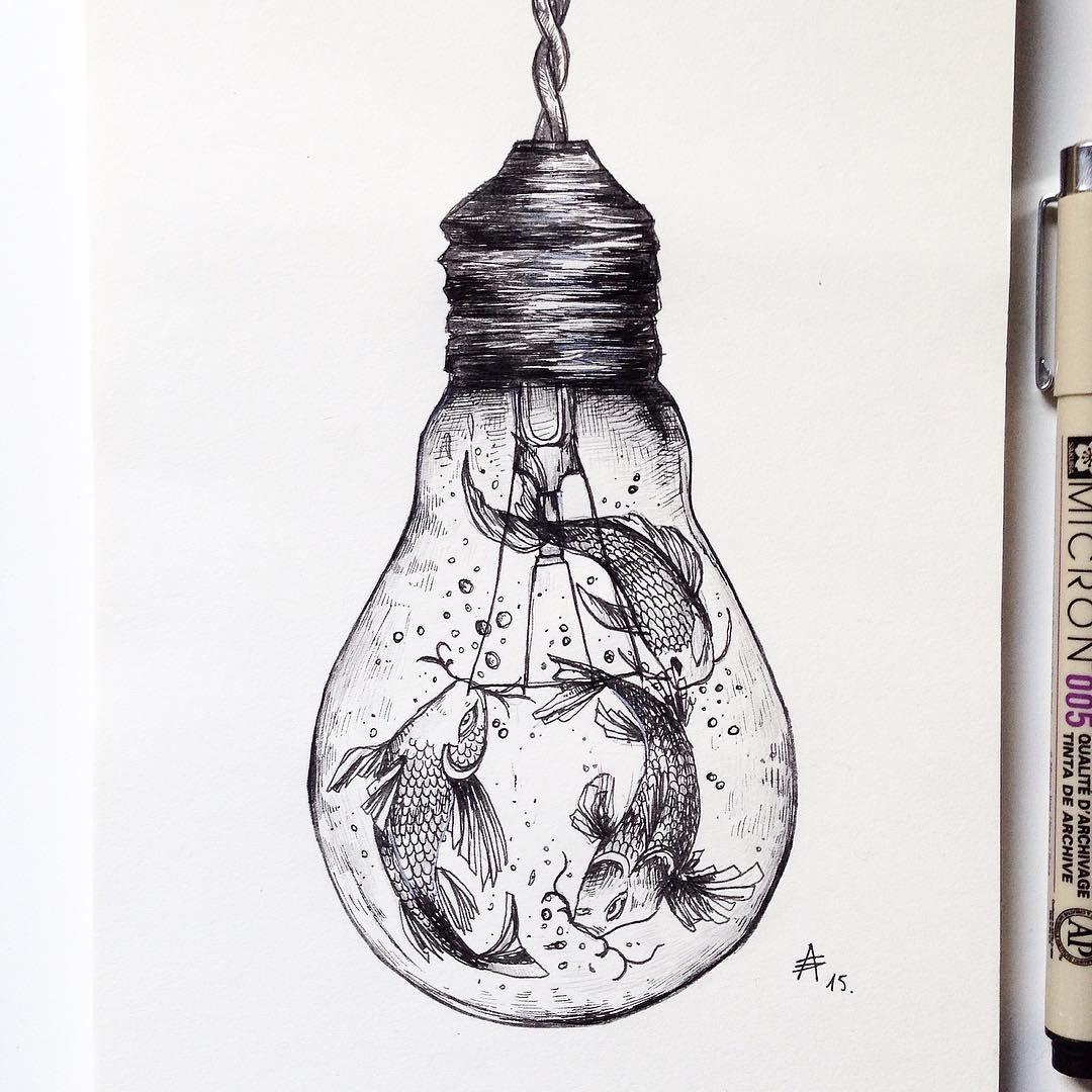 02-Koi-Nishikigoi-in-a-Light-Bulb-Alfred-Basha-The-World-of-the-Mind-Expressed-in-Drawings-www-designstack-co